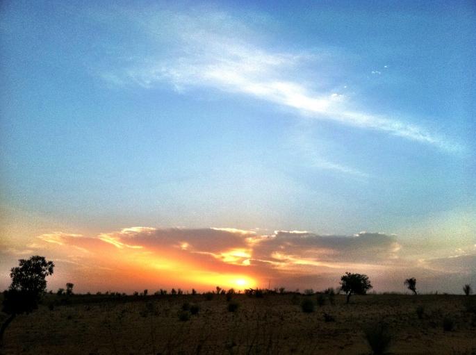 Sunrise from ox-cart headed for Burkina Faso border.
