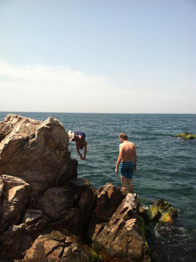 Ricardo (diving) and Jacob on Burgazada.