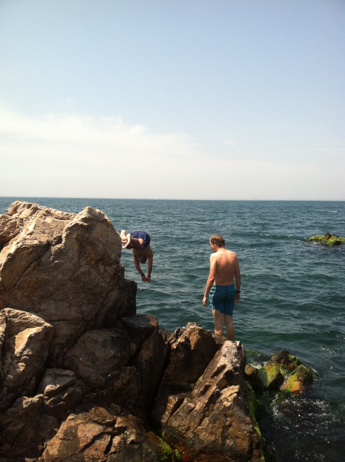 Ricardo (diving) and Jacob on Burgazada.