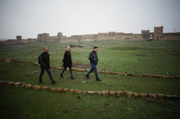 Walking the main street of the ancient city of Ani with Ricardo and Jake. Credit: Filip Warwick