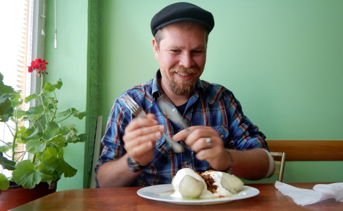This guy loves his Lithuanian dumplings!