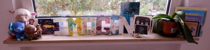 Fun (again Pinterest-inspired) name bunting made with cute shower cards