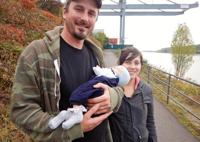 Ted, Imogen, and Nina on the bike path in Bonn.