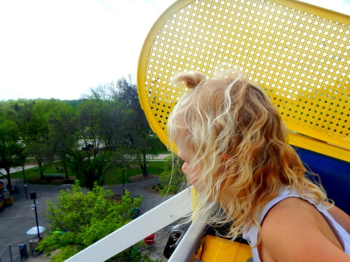 Imogen takes in the view from the Ferris wheel at Bay Beach our first full day in Wisconsin.